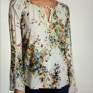 Live Stitch Floral Print Tassel Tie Blouse Sz L